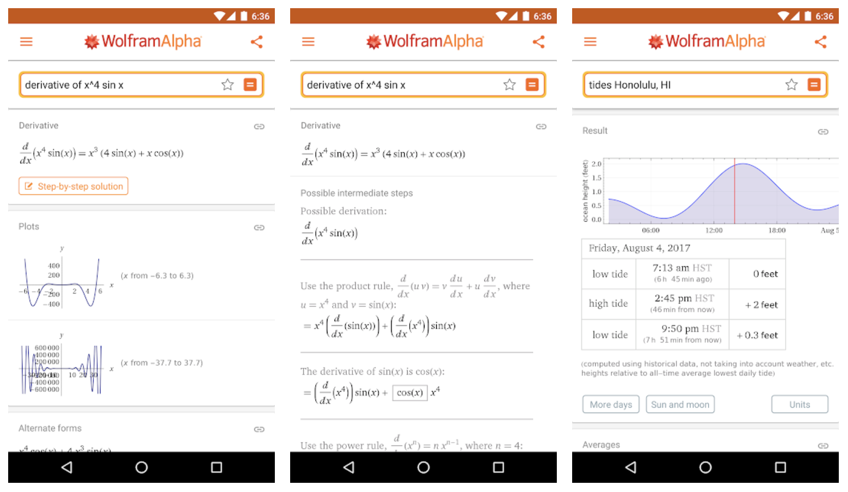 WolframAlpha calculator app screenshot